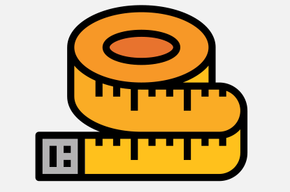 Tape measure icon to represent a unique assessment - measures the why