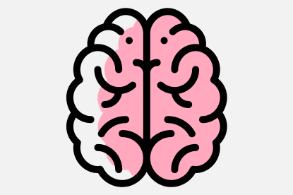 Brain icon to represent a unique assessment - perceives and predicts
